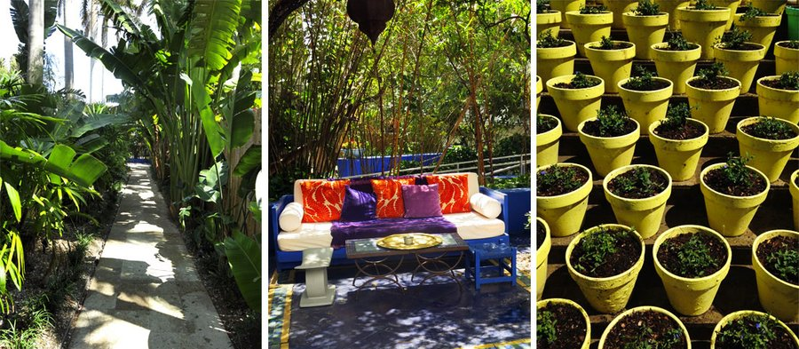 Walkway, couch, and pots