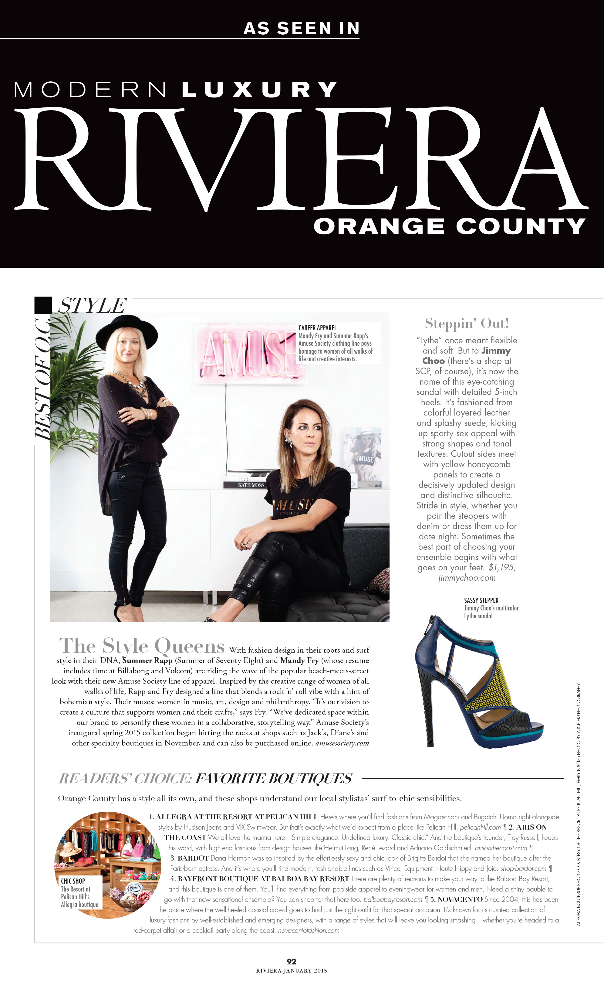Riviera Magazine | Jan 2015